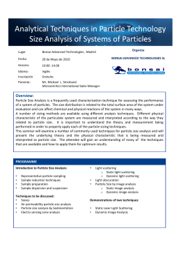 Analytical Techniques in Particle Technology Size Analysis of