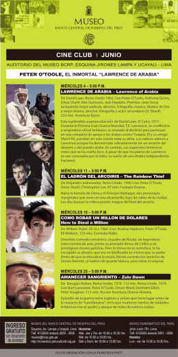 Museo: Cine Club - Junio 2014 - Banco Central de Reserva del Perú