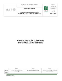MG-SAF-10 Guía Clínica de Méniere - Inicio
