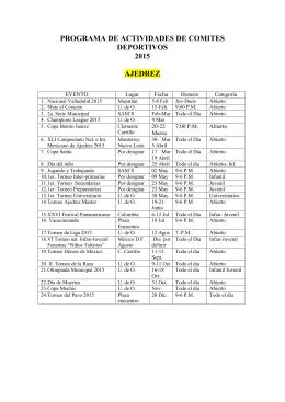 Programa de Actividades - Comité Deportivo 2015