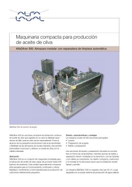 Maquinaria compacta para producción de aceite de oliva