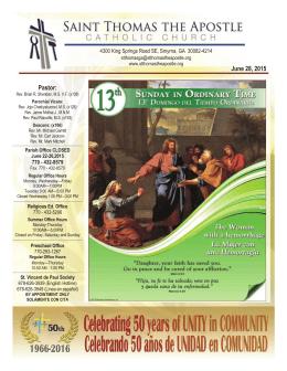 Junio 28, 2015 - Saint Thomas The Apostle Catholic Church