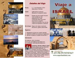 Descargue el Folleto del Viaje a Israel 2015 Aquí!