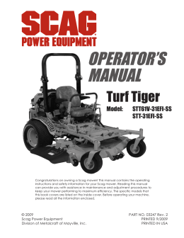 warning - Scag Power Equipment