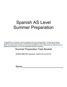 Spanish AS Level Summer Preparation
