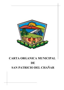 carta organica municipal de san patricio del chañar