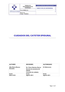 cuidados del cateter epidural