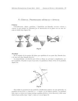7. Cónicas. Propiedades métricas y ópticas