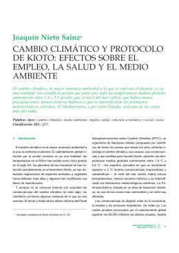 cambio climático y protocolo de kioto: efectos sobre