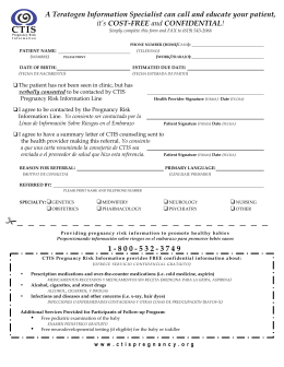 Pregnancy Risk Information Referral form