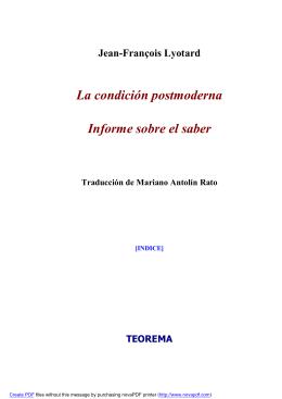 La condición postmoderna Informe sobre el saber