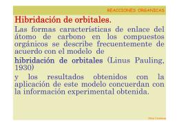 Hibridación de orbitales.
