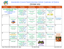 October 2013 Hunterdon County Family Success Center Calendar