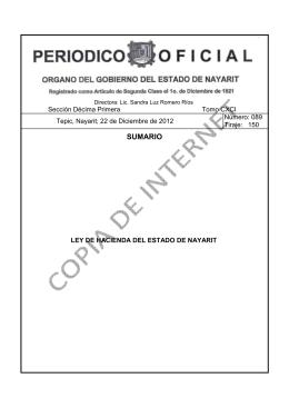 SUMARIO - Gobierno del Estado de Nayarit