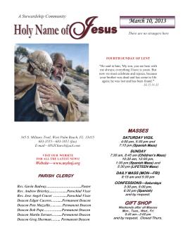 March 10, 2013 - Holy Name of Jesus Catholic Church