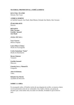 Ficha técnica y material adicional (prensa y gira)