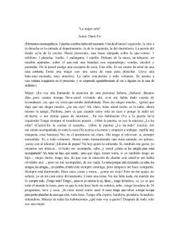 """""""La mujer sola"""" Autor: Darío Fo (Elementos"""