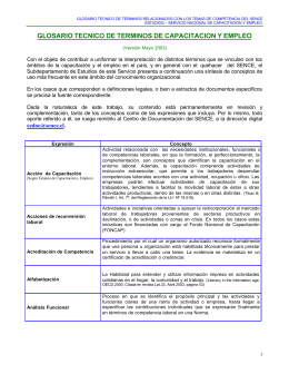 glosario tecnico de terminos de capacitacion y empleo
