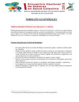 normativas generales - Encuentro Nacional de Saberes en Salud