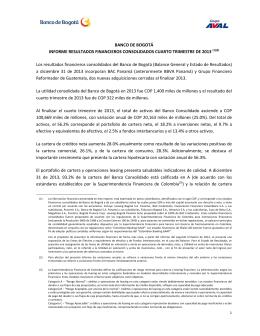 Informe Banco de Bogotá Consolidado Diciembre 2013