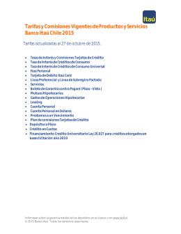 Tarifas y Comisiones Vigentes de Productos y Servicios Banco Itaú