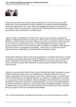 Las 10 familias españolas que dominan la hotelería dominicana