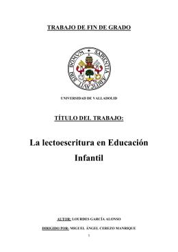 La lectoescritura en Educación Infantil - UVaDOC