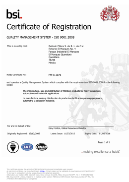 quality management system - iso 9001:2008
