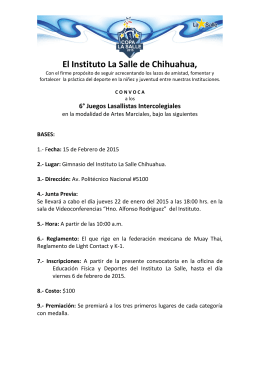 Convocatoria Karate 2015 - Instituto La Salle Chihuahua