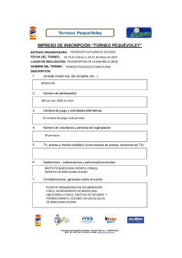 FEDERACIÓ CATALANA DE VOLEIBOL 18-19 de Febrero y 20