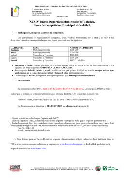 XXXIV Juegos Deportivos Municipales de Valencia. Bases de