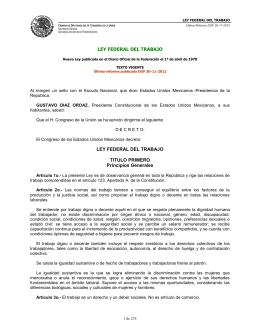 Ley Federal del Trabajo - Dirección General de Personal