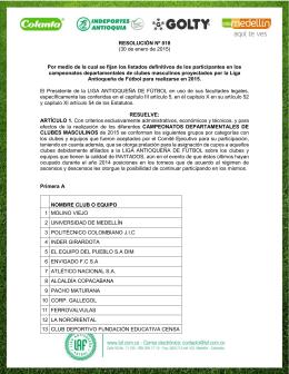 Resolución N° 18 - Liga Antioqueña de Fútbol