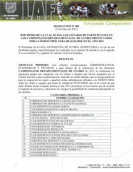 3 de Enero de 2012 - Liga Antioqueña de Fútbol