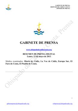 GABINETE DE PRENSA - Obispado de Cádiz y Ceuta