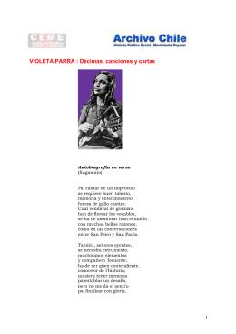 Décimas, canciones y cartas de Violeta Parra