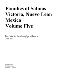 Families of Salinas Victoria, Nuevo Leon Mexico Volume Five