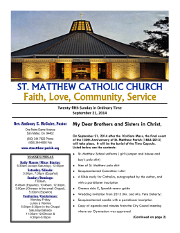 2014.09.21 Parish Bulletin - St. Matthew Catholic Church