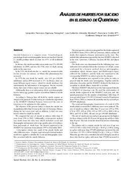 análisis de muertes por suicidio en el estado de querétaro