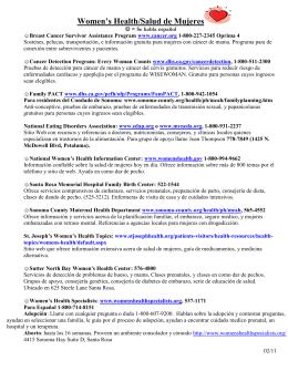 Women`s Health/Salud de Mujeres