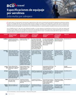 Especificaciones de equipaje por aerolínea