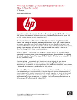 HP Backup and Recovery Solution Service para Data Protector