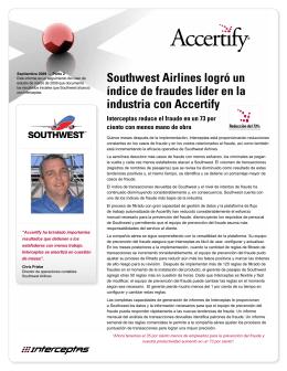 Southwest Airlines logró un índice de fraudes líder en la industria