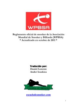 Reglamento oficial de snooker de la Asociación Mundial de