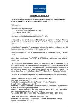 INFORME DE MERCADO 2204.21.00: Vinos excluidos espumosos