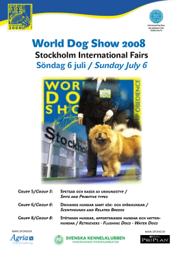 World Dog Show Importante información
