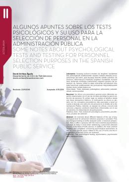Algunos apuntes sobre los tests psicològicos y su uso para la