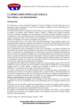 LA PERCUSIÓN POPULAR CUBANA. Sus ritmos y