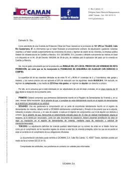 Carta informativa DOCM - Gestión de Infraestructuras de Castilla