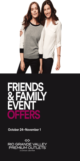 FRIENDS & FAMILY EVENT OFFERS